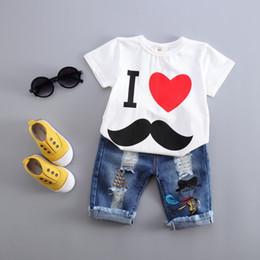 Wholesale Wholesale Little Boys Jeans - Summer Children Clothes Sets 2017 Boys Girl Short Sleeve T Shirt Little Moustache Love Heart Children Top With Matching Denim Jeans 2Pcs Set