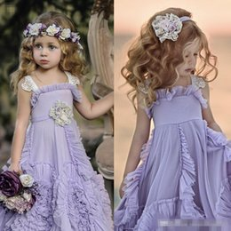 Wholesale Lace Cupcake Lines - Cupcake Dollcake Purple Flower Girl Dresses Ruffles Lace Tutu 2017 Boho Wedding Vintage Beach Little Kids Baby Pageant Gowns for Communion