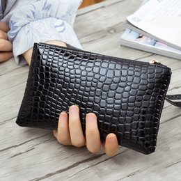 женские кошельки из крокодиловой кожи Скидка Wholesale- New Fashion Crocodile Pattern Women Long Wallet Alligator PU Leather Female Clutch Purse Vintage Money Makeup Bag Lady Wrist Bag