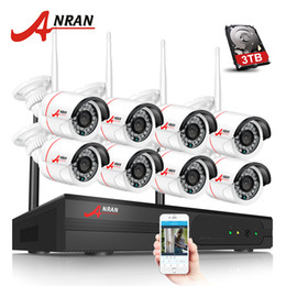 Wholesale Mini Bullet Camera System - ANRAN H.264 8CH Wifi NVR Network Video Recorder Wireless CCTV System 1080P HD Mini Bullet Wifi IP Camera Surveillance Kit 3TB HDD Optional