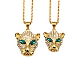 Wholesale Big White Head - Animal Leopard Head Green Eyes Pendant Necklace Gold Titanium Steel Big And Small Size Crystal Rhinestone Fashion Jewelry