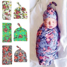 Wholesale Infant Sleep Caps - Floral Baby Swaddle Sack Flower Princed Blanket Newborn Baby Soft Cotton Infant Sleep Bags + Headband Cap Boys Girls 2pcs Sets C445