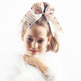Wholesale Girls Smile Face - Emoji Hair Bow Smiling Face With Clip Grosgrain Ribbon Bow For Girl Kid Hair Clips Hairpins Headwear