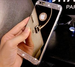 Wholesale Iphone Cover Mirror Bling - Bling Shining Diamond Rhinestone Electroplating Mirror TPU Silicone Soft Case Cover For iPhone 8 7 Plus 6 6S 5 5S Samsung S7 Edge S8 Note 5