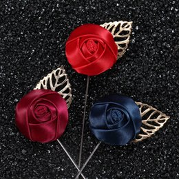 Wholesale Rose Plant Leaves - New fashion men Brooches Leaves with ribbons Rose buds Lapel pin suit Boutonniere fabric yarn pin Solid colors button Broches for wedding