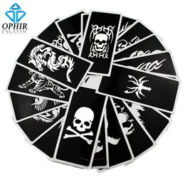 Wholesale Temporary Tattoo Airbrush Paint - Wholesale-OPHIR 20Pcs lot Reusable Airbrush Stencils (Skull+Animal series) for Body Paint Temporary Tattoo Kit 14.1 x 6.1cm_TA034(A-B)