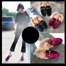 Wholesale Hair Buckles - Hot! winter multicolor Women slippers Rabbit hair Half dragged Metal buckle flat Scuffs velvet Plush slippers Free shipping