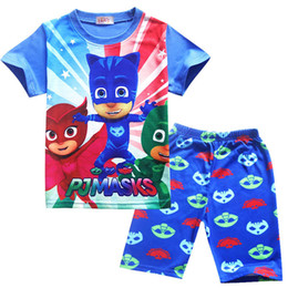 Wholesale Organic Shirts - Summer Baby Boy Outfits Kids Homewear Beach T-shirt&Shorts Cartoon Pajamas Two pieces Clothing Baby Sleepwear Sets