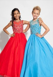 Wholesale Chiffon Pageant Dresses Girls - Long Flower Girl Dresses Jewel Neckline Sheer Cap Sleeve Blue Chiffon First Communion Party Dress Pageant Gowns