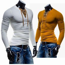 Wholesale Korea Men Shirts Slim - hot sale New Autumn Korea fashion casual slim fit long sleeve T-shirt Men's Clothing free shipping