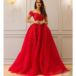 Wholesale Orange Sweetheart Neckline Dresses - Gorgeous Evening Gowns Floor Length Sweetheart Neckline Lace Appliques Beading Pearls A Line Red Prom Dresses Arabic 2017