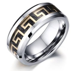 Wholesale Great Wall Gift - United States wholesales Great Wall Symbol inlay Tungsten Carbide Ring Fashion Jewelry Ring for finger mens style