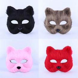Wholesale Animal Fox Fur - Women Girls Animal Short Fur Fox Mask Half Face Masks Halloween Carnival Party Dress Decoration Supplies
