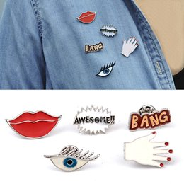Wholesale Jewelry Set Cartoon - Women Alloy Brooch Pins Eye Lip Hand Mixed Shapes Brooches For Women Jewelry Cartoon Badge 5pcs Set Fit for Bags Clothes
