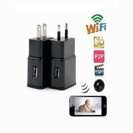 Wholesale Mini Wireless Cctv Camera - CCTV H.264 1080P WiFi remote wireless hidden camera Mini charger camera EU US Plug PI camera for android IOS Mobile Mini DV