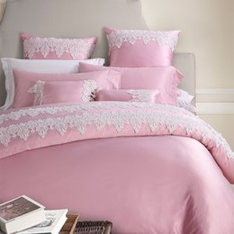 Wholesale Wedding Bedding Sets Lace - Wholesale- 4 6-Pieces Imitated Silk Lace Luxury Bedding Set King Size Queen Bed Set Wedding Bedding Sets Duvet Cover Bed Sheet Pink
