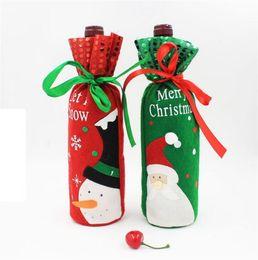 Wholesale Wine Bottle Wrapped - Christmas Santa Snowman Wine Bottle Covers Bag Merry Christmas Table Decoration Festival Wine Bottle Cover Bags Gift Wrap Party Decor
