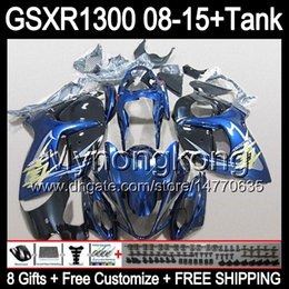 Wholesale Suzuki Hayabusa Blue - gloss blue 8gifts For SUZUKI Hayabusa GSXR1300 2008 2009 2010 2011 14MY133 GSXR-1300 GSX R1300 GSXR 1300 2012 2013 2014 2015 black Fairing