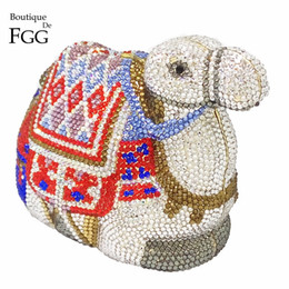 Wholesale Famous Bridal - Wholesale- Famous Brand Camel Shape Women Crystal Clutch Evening Clutches Bags Metal Minaudiere Handbag Bridal Wedding Animal Shoulder Bag