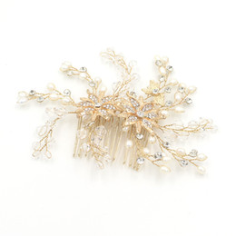 Wholesale Real Fairy Photos - Gold Silver Wedding Hair Accessories For Bride High Quality Handmade Pearl Bead New Real Photo Bridal Accessories Headpieces Bride Hair Comb