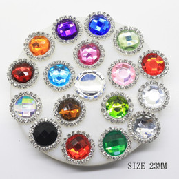 Wholesale 23mm Button - 50pcs Mixed Colors 23mm Acrylic Metal Crystal Rhinestone Button Wedding Hair Embellishments DIY Accessory Decoration
