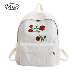 Wholesale Girl Wood Buttons - Moon Wood Harajuku Rose Embroidery Backpack White Black Women Travel Backpack Students Canvas Double Shoulder Bag Mochila M627