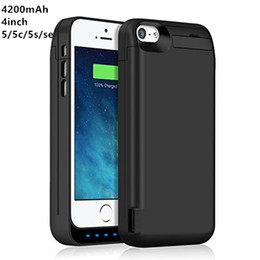 Wholesale Usb Extended - Extended Rechargeable Battery Case for iPhone 5 5c 5s se 4200mAh USB Power Bank Capacity Backup Charger Case Pack