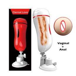 Wholesale Male Double Anal - MizzZee Vagina Anal Double Tunnels Masturbation Cup Sex Toys For Men Pocket Pussy Male Masturbators With Suction Cup Sex Product