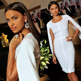 Wholesale Blue Short Clubbing Dresses - Sexy White Cloak Arabic Cocktail Dresses 2017 Sheath Cheap Irina Shayk Runway Celebrity Formal Wears Gowns Short Women Prom Dress