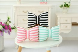 Wholesale Bow Cushions - 1pcs 45*35cm Creative Bow Cushion Pillow Striped Colorful Popular in Insgram Good For Gift washable