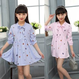 Wholesale Short Skirt Strips - Girl Short dress 2017 Spring summer new Korean Style fashion big Girl princess skirt Blue Pink Strips Shirt Dresses with Bowknot