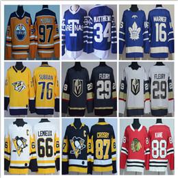 Wholesale Mens Hockey Jerseys - Top 2017-18 Mens Hockey Jersey Toronto Maple Leafs 34 Auston Matthews Edmonton Oilers 97 Connor McDavid Jersey 29 Marc-Andre Fleury Stitched