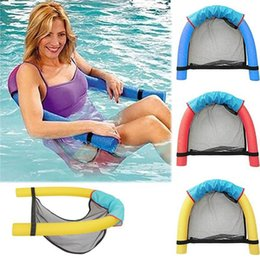 Wholesale Noodle Chairs - Kids Swimming Floating Chair Portable Pool Noodle Chair 6.5*150cm Mesh Pool Float Chairs Seat Bed Water Bed Supplies OOA2001