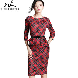 Wholesale Tartan Chiffon - Wholesale- Nice-forever Spring Lady Vintage Tartan Red New Year Fitted Dress O Neck 3 4 Sleeve Belt Peplum Casual Zipper Pencil Dress B267