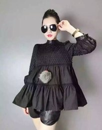Wholesale Shirt Camicie - Wholesale-vintage black women shirt puff sleeve bubbles lolita women shirt fashion tops camicie donna chemise femme chemisier