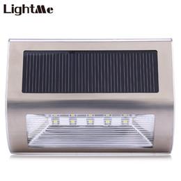 Wholesale Outdoor Parking Light Sensor - Wholesale- Lightme 5 LEDs Motion Sensor Light Outdoor Solar Power Wall Light 3.2V 600mAh Waterproof Outdoor Garden Park Wall LED Lamp