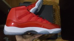 Wholesale Mens High Top Tennis Shoes - Retro 11s Chicago mens basketball shoes sneaker red white patent leather high top boots outdoor athletic tennis 11 footwear size 41-47
