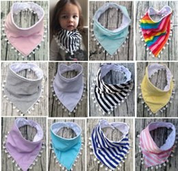 Wholesale Triangle Scarf Boy - Baby bibs infant pompon tassel lace triangle baby boys girls rainbow stripe burp bandana cotton soft scarf newborn saliva towel R0418