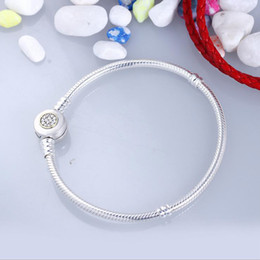 Wholesale Signature White - Authentic 925 Sterling Silver Charm Bead Moments Two-Tone Signature Crystal Bracelets Snake Chian Fit DIY Beads Jewelry
