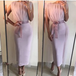 Wholesale Sexy Straight Evening Gowns - Lavender Ankle Length Evening Dresses High Neck Women Formal Dress 2017 New Arrival Straight Arabic Party Gown Abiye Kaftan