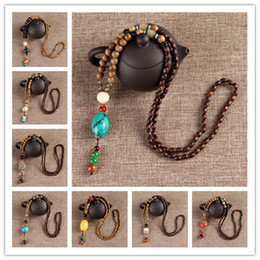 Wholesale Men Chinese Necklace - Vintage Ethic Style Long Chain Sweater Necklace Chinese Style Pendant Charm Statement Necklace For Women men