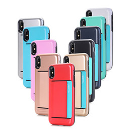 Wholesale hard plastic id case - Hybrid Armor Case with Credit   ID Card Compartment for Apple iphone X 8 6 6S 7 Plus   Samsung Galaxy Note8 S8 Plus Hard Shell Dual Layer