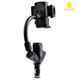 Wholesale Dual Car Mount - Dual USB 2A Cell Phone Mounts with Car Lighter Charger Holders Stands 360 degree Rotable For iPhone 7 Samsung Galaxy with Retail Box