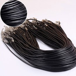 Wholesale Leather Necklace Silver Lobster Clasp - Black Wax Leather Snake Chains Necklace Beading Cord String Rope Wire 45cm+5cm Extender Chain with Lobster Clasp DIY jewelry
