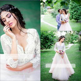 Wholesale Romantic Wedding Dresses Vintage Style - Romantic Summer Vestido de Novia 2017 New Country Styles Wedding Dresses 3 4-Length-Sleeve Pink Long Tulle Lace Royal Bridal Gowns A Line