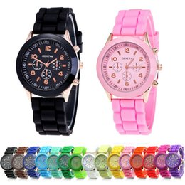 Wholesale Popular Watches - wholesale popular geneva silicone rubber jelly candy watches unisex mens womens ladies colorful rose-gold dress quartz watches