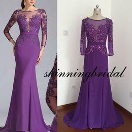 Wholesale Transparent Dress Piece - Actual Image Prom Dresses Sheer Crew Neckline Long Transparent Sleeve Mermaid Chiffon Purple Floor Length Prom Dresses Arabic