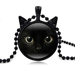 Wholesale Cat Face Necklace - 2017 New Black Cat Pendant Cat Face Necklace Cat Ear Jewelry Girls Glass Cabochon Necklace AA121