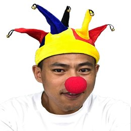 Wholesale Party Supplies Clown - Sevevn Horns Clown Hat Halloween Supplies Performance Hat Headdress Clown Jester Party Costume Hat With Bells