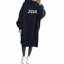 Wholesale Winter Women Dresses Korean Fashion - Wholesale- HziriP Winter Spring Ladies Long Sleeve Sweatshirt Dresses Warm Thicken Hoodie Dress Korean Fashion Pullover Women Casual Tops